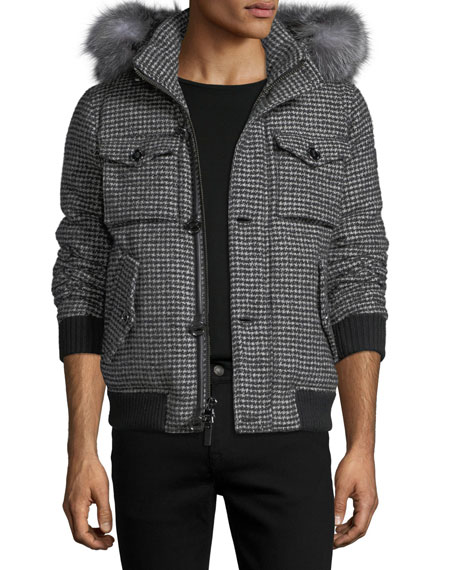 Michael Kors Houndstooth Parka with Fur-Trim Hood