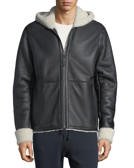 Shearling Fur & Leather Hoodie
