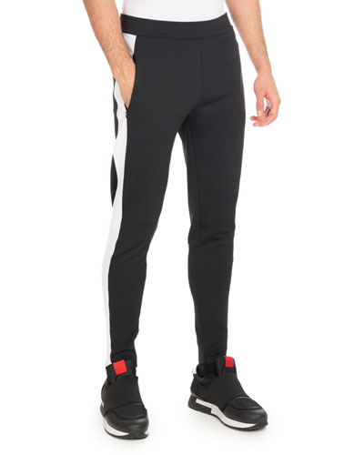 Track-Stripe Jogger Leggings, Black