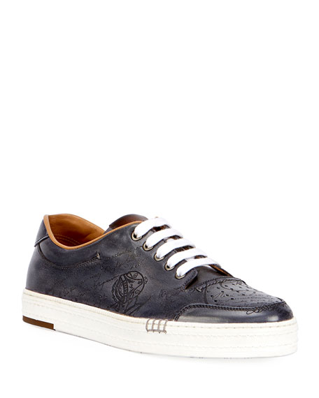 Berluti Playtime Scritto Leather Tennis Shoe, Gray