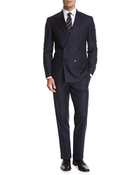 Chevron Wool Double-Breasted Two-Piece Suit, Blue