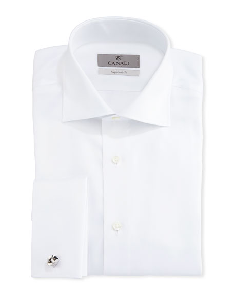 Canali Impeccabile Solid Twill Dress Shirt, White