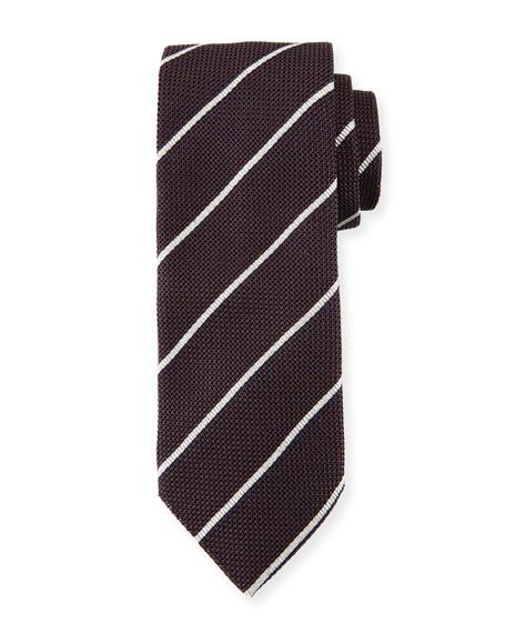 Striped Silk Tie, Brown