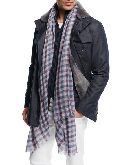 Castorino Fur-Lined Traveler Coat, Navy