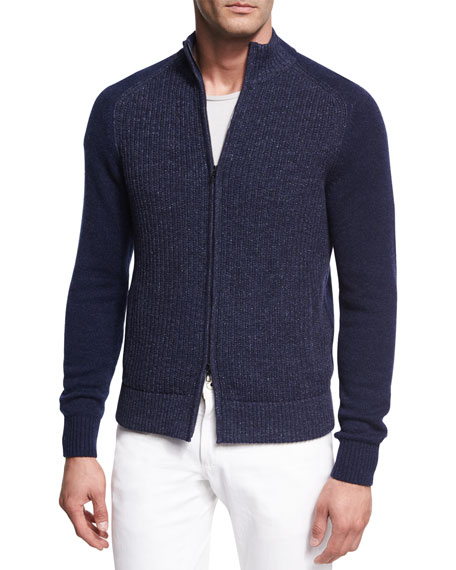 Donegal Cashmere Zip-Front Cardigan