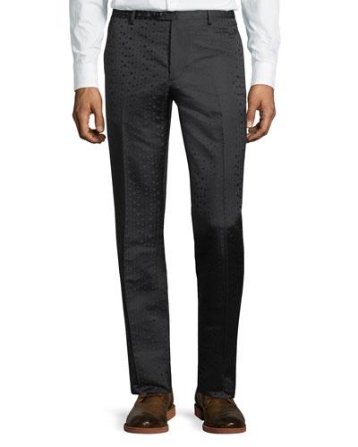 Tonal-Dot Flat-Front Evening Pants