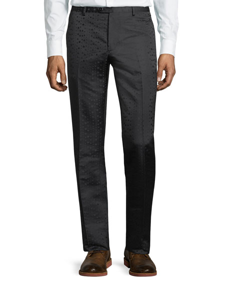 Tonal-Dot Flat-Front Evening Pants