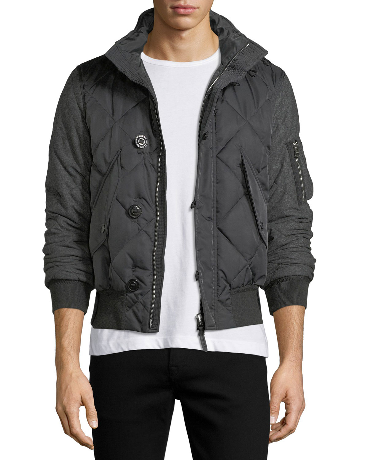 Burberry Quilted Nylon Wool Bomber Jacket Neiman Marcus