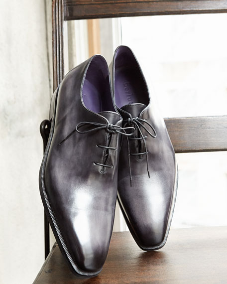 Berluti Alessandro Demesure Leather Oxford, Leather Sole, Black