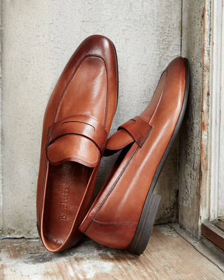Berluti Lorenzo Unlined Leather Loafer, Brown
