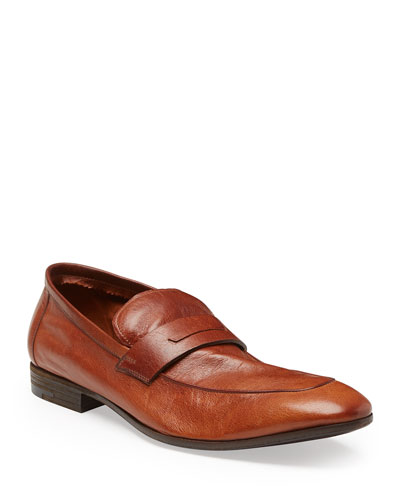 Lorenzo Unlined Leather Loafer  Brown