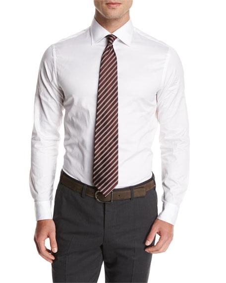 Wide-Stripe Silk Tie, Red