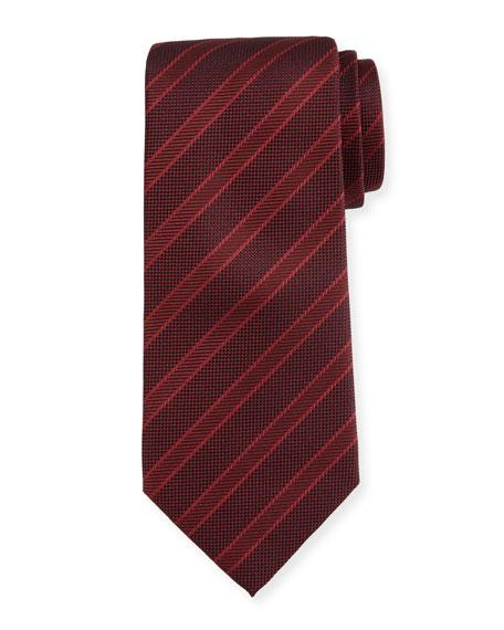 Giorgio Armani Wide-Stripe Silk Tie, Red