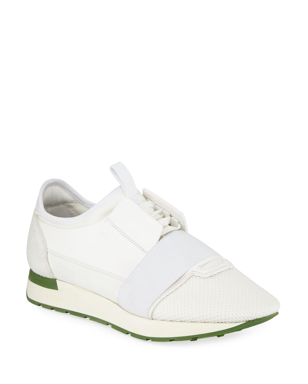Balenciaga Men's & Race Runner Mesh & Men's Leather Sneakers, White 034d72