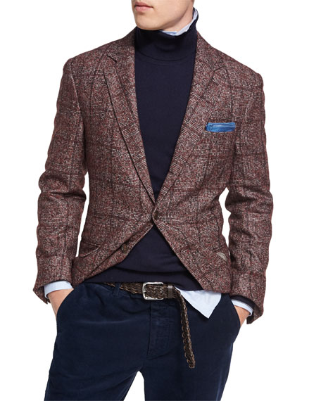 Brunello Cucinelli Plaid Alpaca-Wool Sport Jacket, Red and
