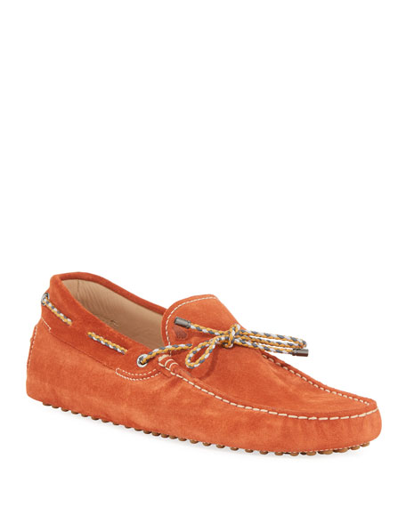 Tod's Gommini Suede Driver with Braided Tie, Orange