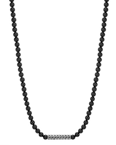 Men's Classic Chain Sterling Silver Necklace with Onyx Beads