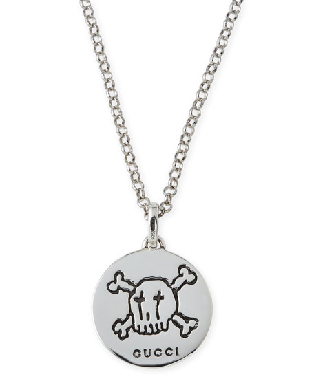 Gucci guccighost mens sterling silver pendant necklace neiman marcus guccighost mens sterling silver pendant necklace mozeypictures Gallery
