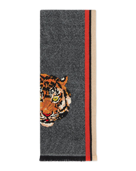 Wool Cashmere Scarf with Tiger