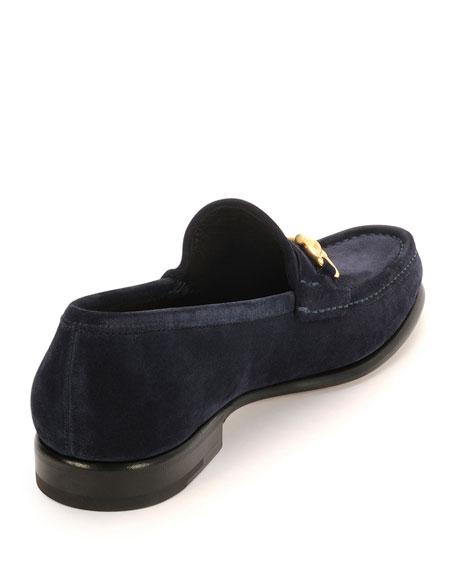 Suede Gancini Loafer, Blue