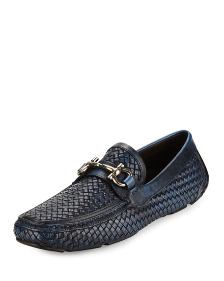 Salvatore Ferragamo Braided Calfskin Gancini Driver, Antiqued
