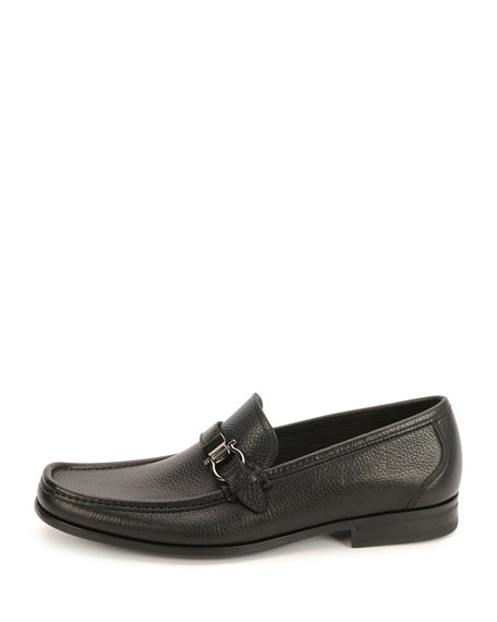 Men's Textured Calfskin Side Gancio Loafer, Black