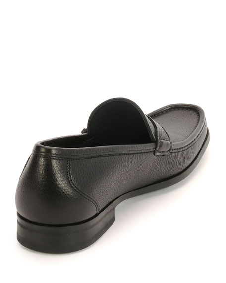 Textured Calfskin Side Gancio Loafer, Black