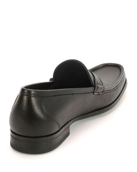 Textured Calfskin Side Gancio Loafer, Black