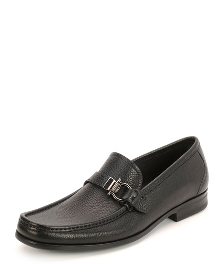 Salvatore Ferragamo Textured Calfskin Side Gancio Loafer, Black