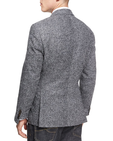 Donegal Tweed Alpaca-Wool Sport Jacket, Medium Gray