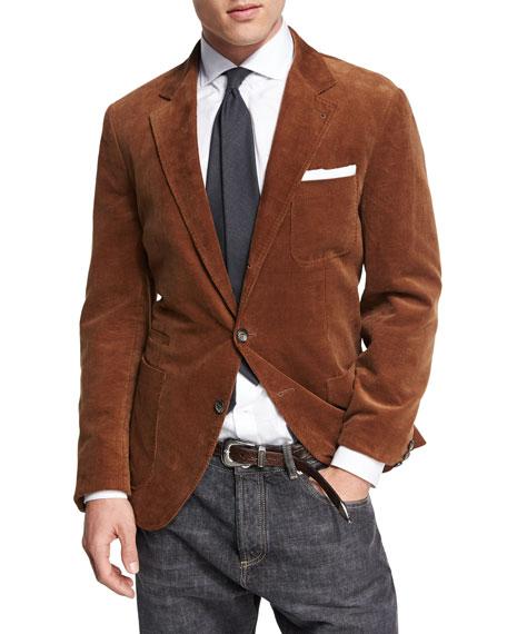 Corduroy Three-Button Sport Jacket, Medium Brown