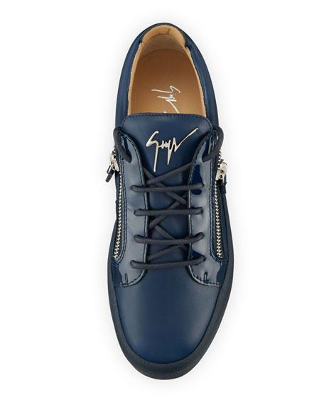 Men's London Double-Zip Leather Low-Top Sneaker