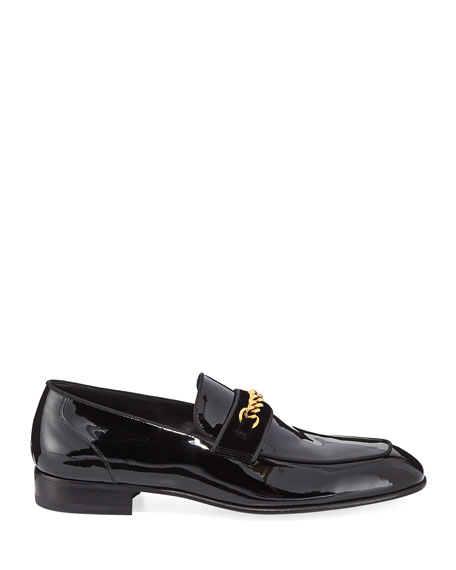 Patent Leather Chain-Link Loafer, Black