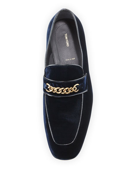 Velvet Chain-Link Loafer, Blue