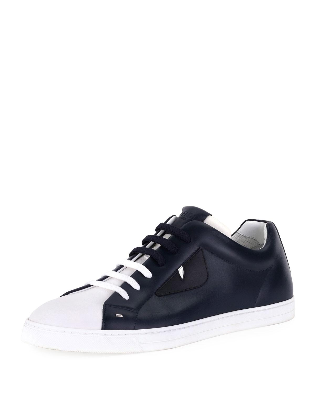 da84ccd60e02 Fendi Men s Monster Leather Low-Top Sneakers