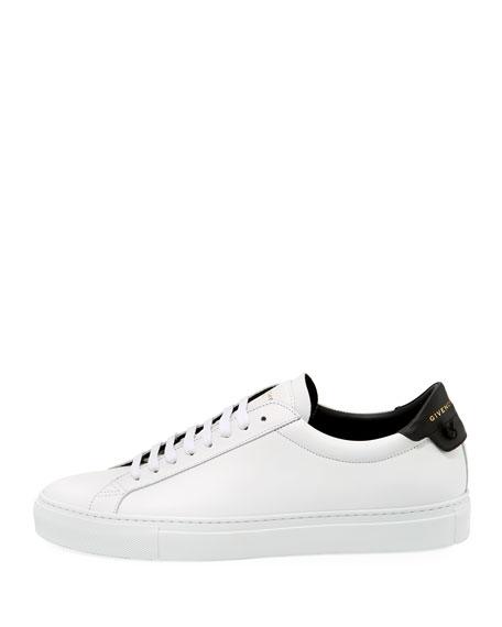 Men's Urban Knot Colorblock Leather Low-Top Sneaker, White/Black