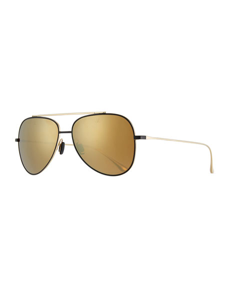Vuarnet Swing Titanium Pilot Sunglasses, Gold/Black