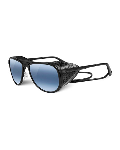 Vuarnet Glacier Pilot Sport Polarized Sunglasses, Black/Blue