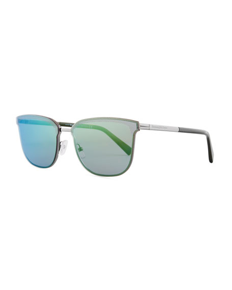 Ermenegildo Zegna Rectangular Chevron Sunglasses
