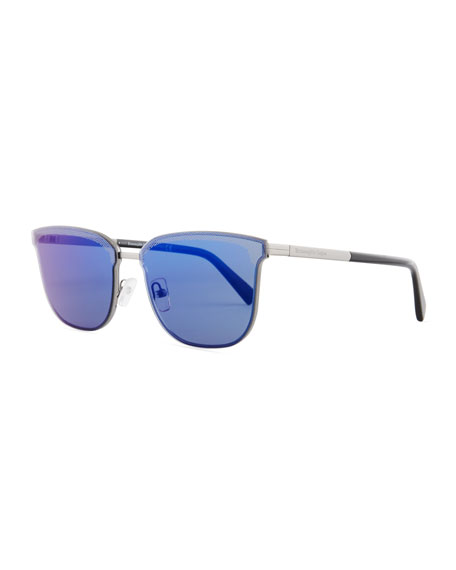 Ermenegildo Zegna Round Double-Bridge Flash Sunglasses, Shiny