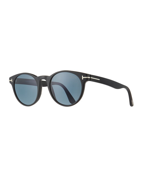 Palmer Polarized Round Acetate Sunglasses, Black/Blue