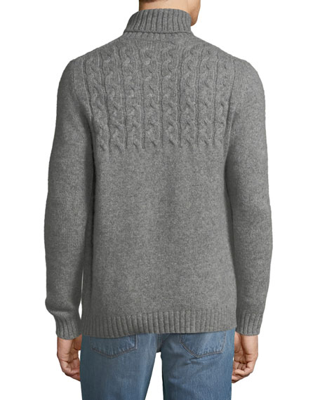 Mixed Cable-Knit Cashmere-Blend Turtleneck