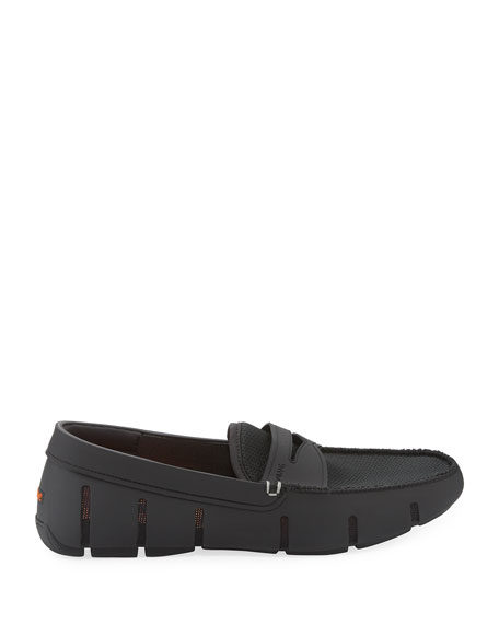 Mesh & Rubber Penny Loafer, Black