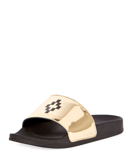 Marcelo Burlon Bai Leather Pool Slide Sandal