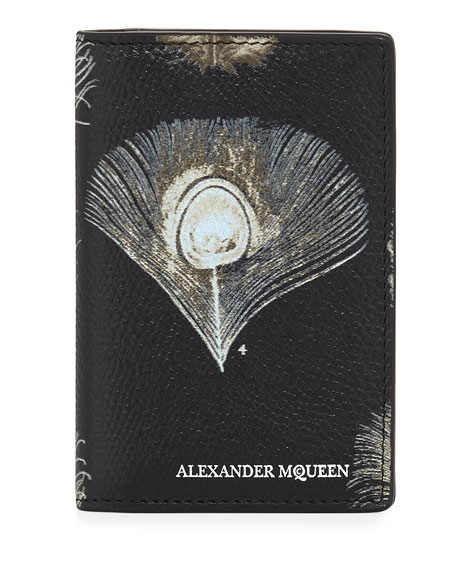 Alexander McQueen Peacock Feather Leather Organizer, Black