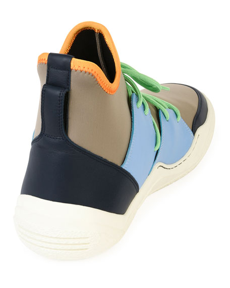 Colorblock Neoprene & Leather Sneakers