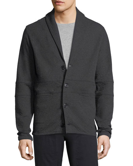 Shawl-Collar Basketweave Cotton Cardigan Jacket