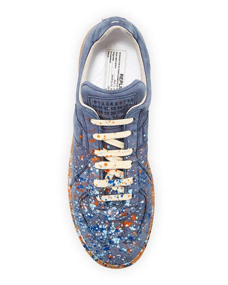 Men's Replica Paint-Splatter Suede Low-Top Sneakers, Blue