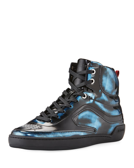 Bally Etra Metallic Leather High-Top Sneaker