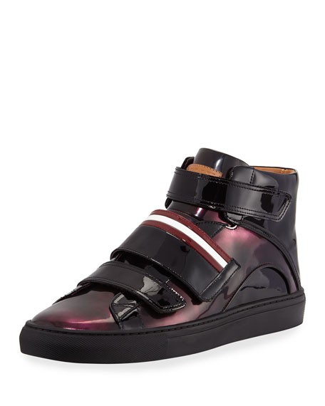 Bally Herrick Metallic Patent Leather High-Top Sneaker, Wine